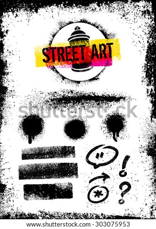 Street Art Graffiti Vector Design Elements Set Including Aerosol Spray Splats, Grunge Brush Strokes, Arrow, Speech Bubble - stock vector