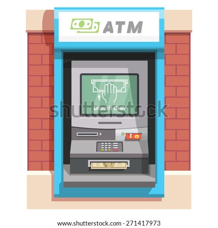 Street ATM teller machine with current operation icon on the screen and dollar banknotes inserted to a slot. Hand placing banknote pictogram. Flat style vector illustration. - stock vector