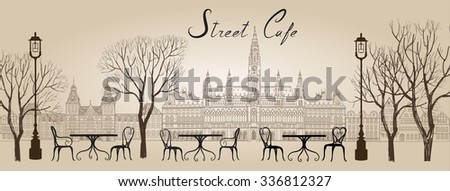 Street cafe in old town graphic illustration. Old city views and street cafes. Dining hours along a Vienna cobblestone alley - stock vector