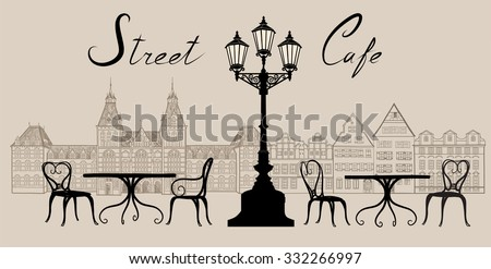 Street cafe in old town. Old city view and street cafe. Dining hours along a european cobblestone alleyway.  Hand drawn sketch graphic illustration - stock vector