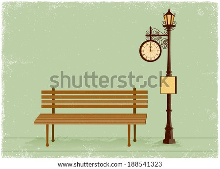 Street clock and lamp post with park bench in vintage vector style - stock vector