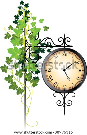 Street clock braided with ivy - stock vector