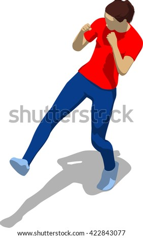 Street fighter kicking with a leg to leg. Young athletic woman in red t-shirt and blue tights. 3d flat isometric. - stock vector
