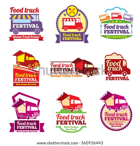 Street food festival color labels set. Cafe urban, mobile market, event and transport, vector illustration - stock vector
