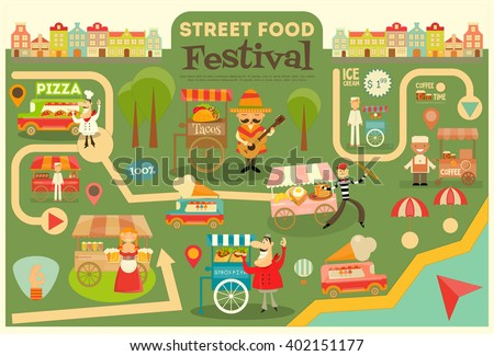 Street Food Festival on City Map. Food carts on Infographic Card. Sellers and Trucks with Food. Mexican, Italian, Greek, French Cuisine. Vector Illustration. - stock vector