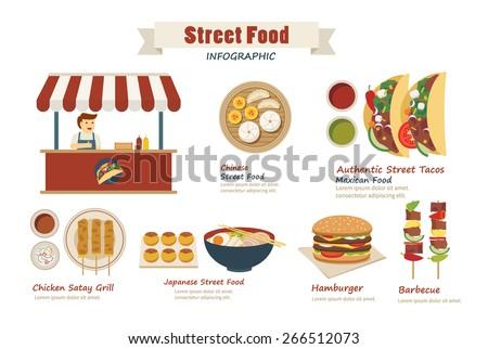 street food infographic  flat design - stock vector