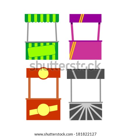 Street food kiosk. Food cart stalls, kiosk icon set. - stock vector