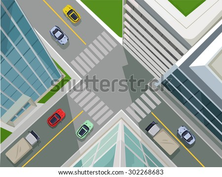 Street in a city, top view. Vector flat illustration - stock vector