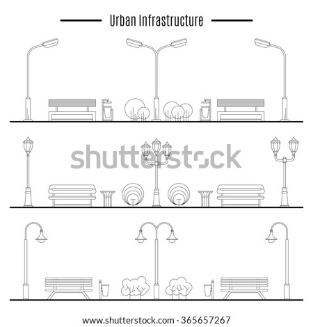Street lamps, urns and benches for design of streets and landscapes. Elements used in the open air on the streets, in parks, on the sidewalks, outdoor - stock vector