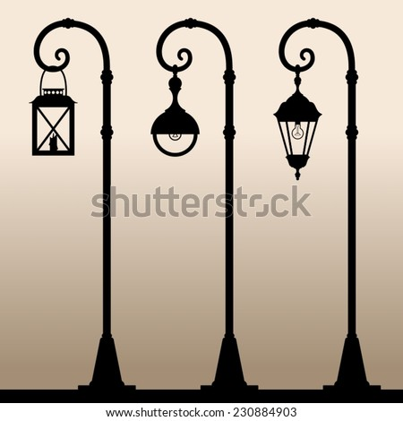 Street lights. Black silhouettes of three different Lampposts. Vector illustration.  - stock vector
