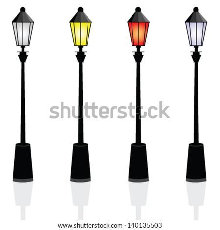 street lights color vector illustration - stock vector