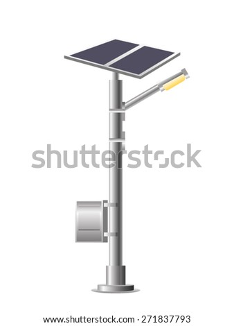 Street Lights - Park with solar panel. Vector - stock vector
