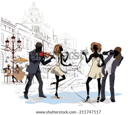 Street musicians on the background of a street cafe in the old city - stock vector