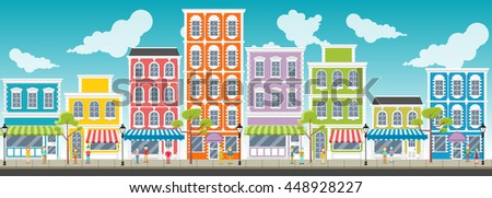 Street of a colorful city with cartoon business people   - stock vector