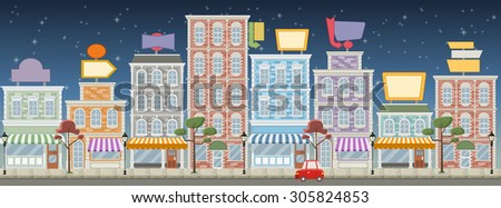 Street of a colorful city with shops and billboards at night  - stock vector