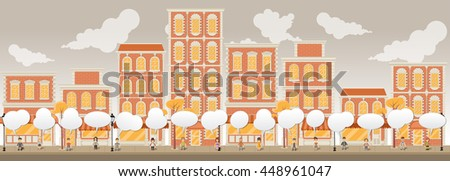 Street of a red city with cartoon people talking  - stock vector
