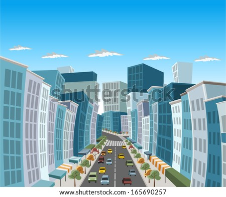 Street of downtown city with buildings and cars - stock vector