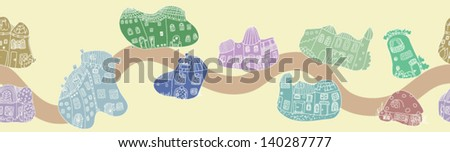 Street of the blob houses - seamless pattern - stock vector