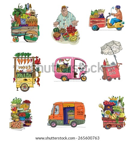 street retail and market set - cartoon - stock vector