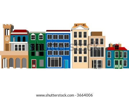 Street Scene (Vector Fully Editable) - stock vector