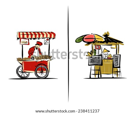 Street sellers, sketch for your design. Illustration about Turkey and Thailand. - stock vector