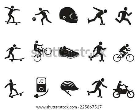 street sport biking skating skateboarding icons set - stock vector