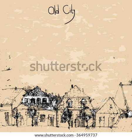 Street view in the old city - stock vector