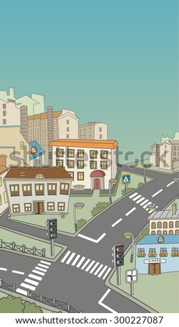 Street with bright cheerful houses, traffic lights, road signs. Road with a dividing strip and pedestrian crossings - stock vector