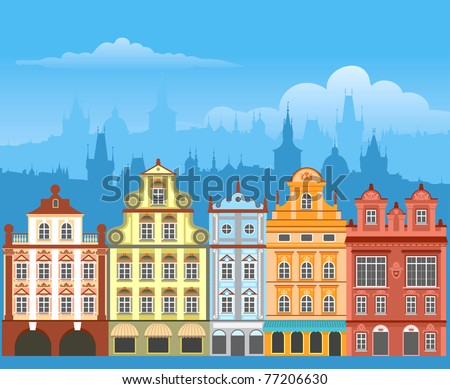 Street with houses in different architectural styles and colors. Detailed vector picture. - stock vector