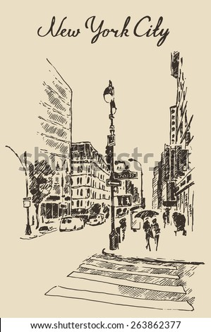Streets in New York (United States), hand drawn vector illustration, sketch, engraved style - stock vector