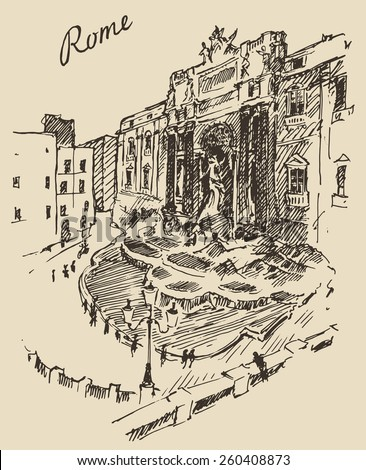 Streets in Rome (Italy), Trevi Fountain, hand drawn vector illustration, sketch, engraved style - stock vector
