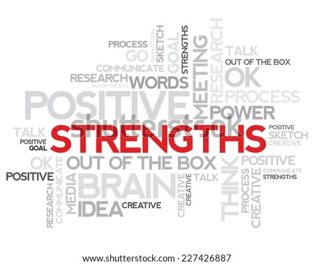 Strengths thinking info-text graphics and arrangement concept (word cloud) - stock vector
