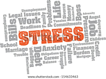 Stress Trouble Word Cloud - stock vector