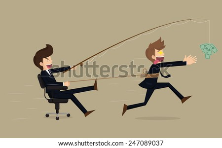 Stressed greedy businessman running after money, vector cartoon.vector - stock vector
