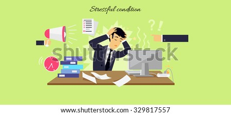 Stressful condition icon flat isolated. Stress health person, disorder and problem, businessman depression, mental attack psychological, busy and chaos illustration - stock vector