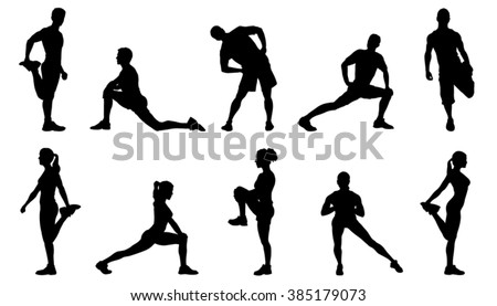 stretch silhouettes on the white background - stock vector