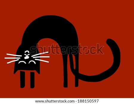 stretching black cat - stock vector