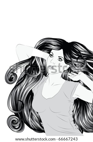 Stretching woman with detailed hair - stock vector