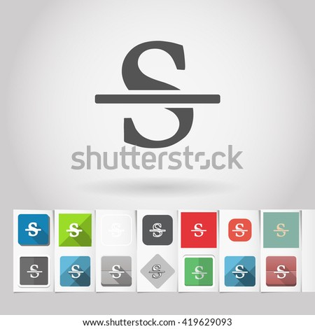 Strikethrough text square icon set from big collection of sets of formatting text tools and interface elements - stock vector