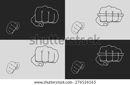 Striking fists. Black and white illustrations - stock vector