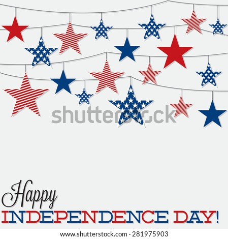 String of stars Independence Day card in vector format. - stock vector