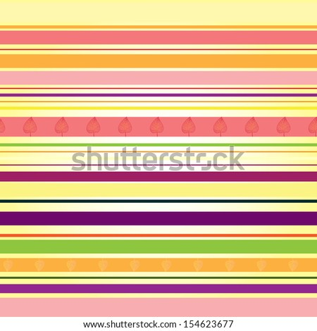 Strip pattern with colored autumn leaves, bright colors. Vector illustration - stock vector