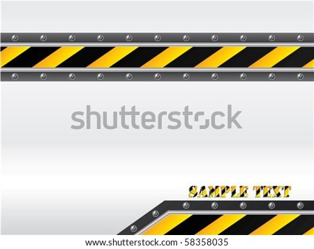 Striped and screwed warning backdrop - stock vector