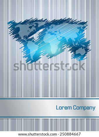 Striped and scribbled blue business brochure design with world map - stock vector