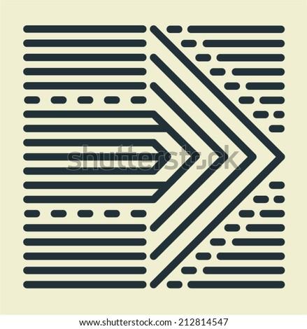 Striped Arrow - stock vector