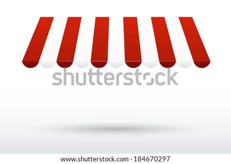 Striped awning - stock vector
