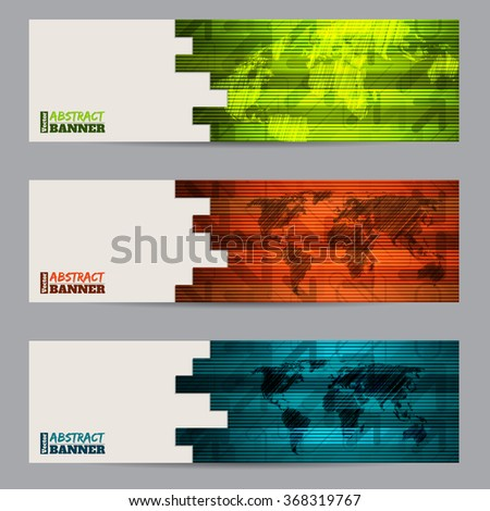 Striped banner set of three with abstract stripes and scribbled maps - stock vector