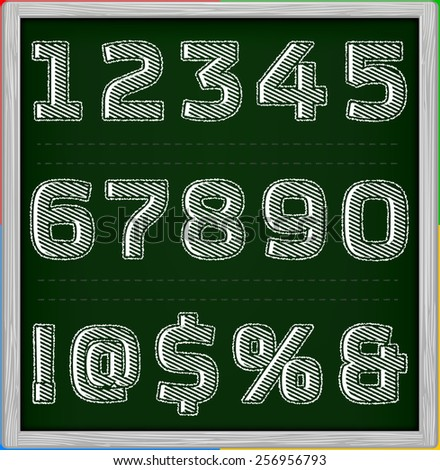 Striped chalk font on chalk board Part 3/3 Numbers - stock vector