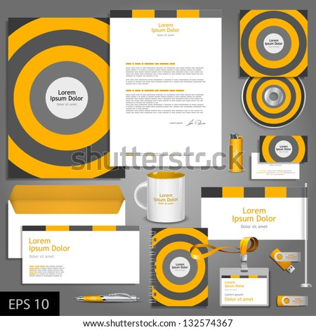 Striped corporate identity template. Vector company style for brandbook and guideline. EPS 10 - stock vector