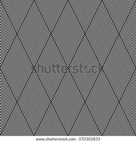 Striped diamonds pattern. Seamless geometric lines texture. Vector art. - stock vector